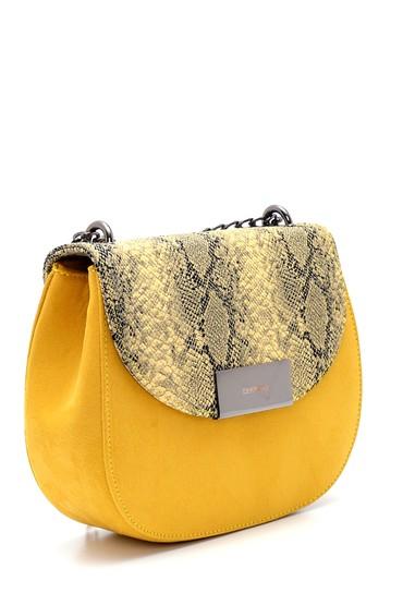 Sarı Kadın Kroko Desenli Omuz Çantası 5638299944