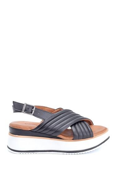 Siyah Kadın Casual Deri Sandalet 5638280083