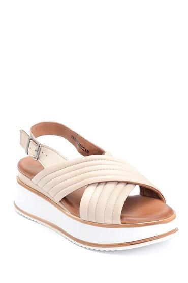 Bej Kadın Casual Deri Sandalet 5638280084