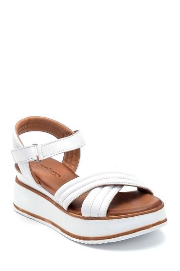 Beyaz Kadın Casual Deri Sandalet 5638280103