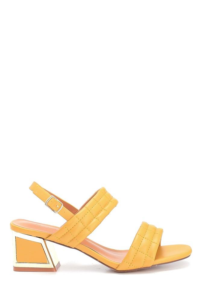 Sarı Kadın Kalın Topuklu Kapitone Sandalet 5638263404