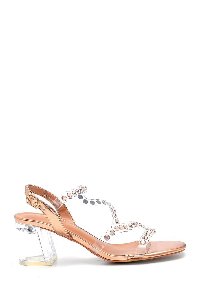 Pembe Kadın Şeffaf Kalın Topuklu Sandalet 5638263499