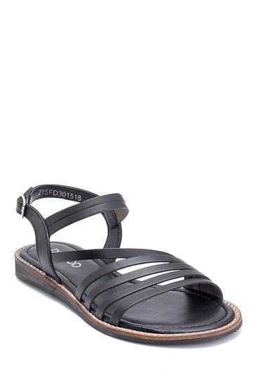 Siyah Kadın Deri Sandalet 5638261981
