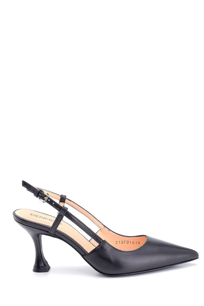 Siyah Kadın Casual Topuklu Deri Ayakkabı 5638297616