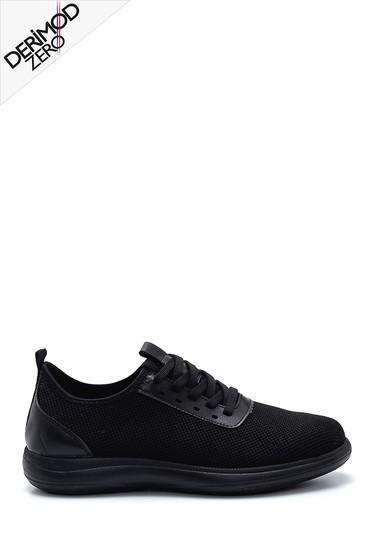 Siyah Erkek Deri Detaylı Çorap Sneaker 5638245963