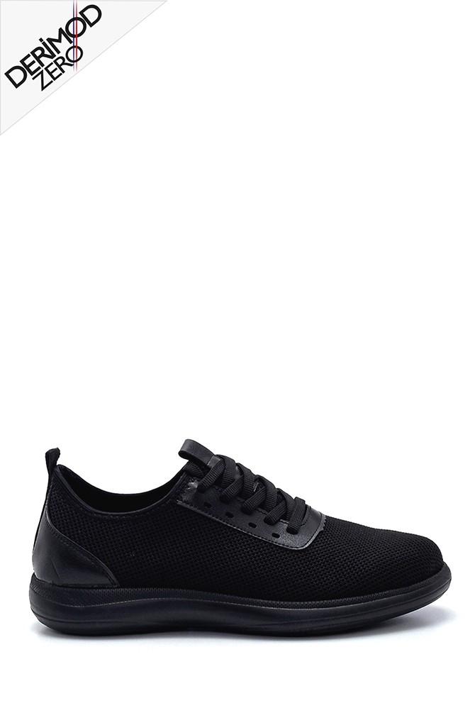 Siyah Erkek Deri Detaylı Sneaker 5638245978