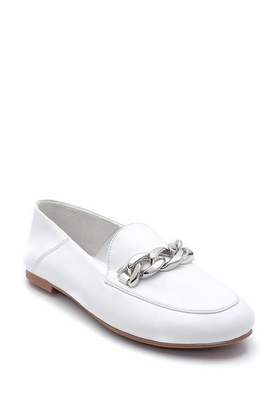 Beyaz Kadın Zincir Detaylı Deri Loafer 5638270560