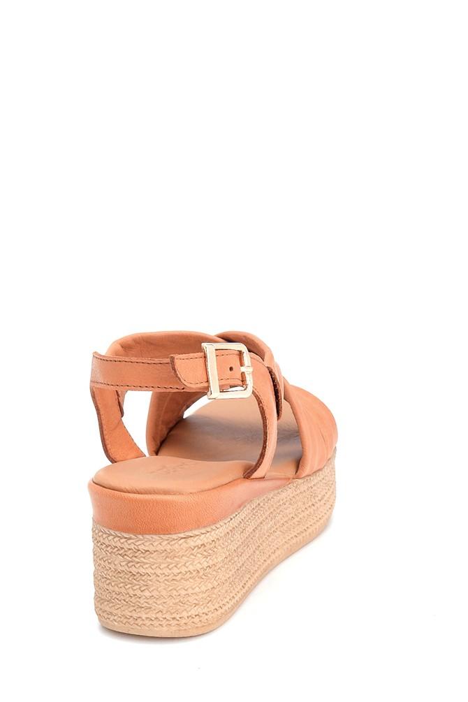 5638280637 Kadın Dolgu Topuk Deri Sandalet