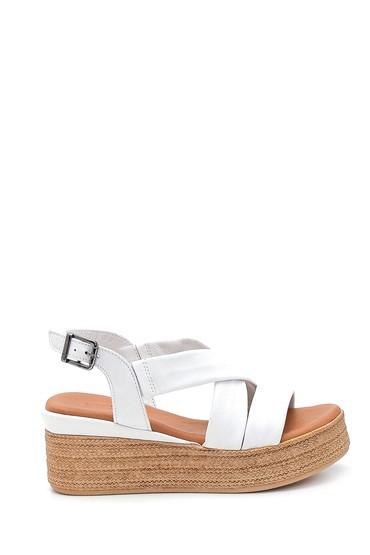 Beyaz Kadın Dolgu Topuk Deri Sandalet 5638280635