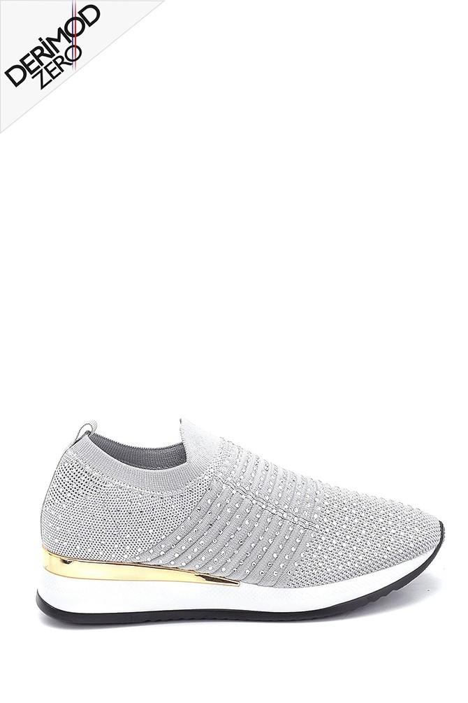 Gri Kadın Çorap Taş Detaylı Sneaker 5638257610