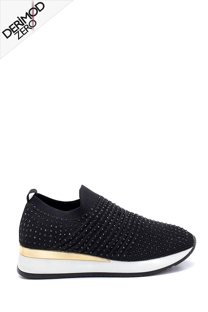 Siyah Kadın Çorap Taş Detaylı Sneaker 5638257600