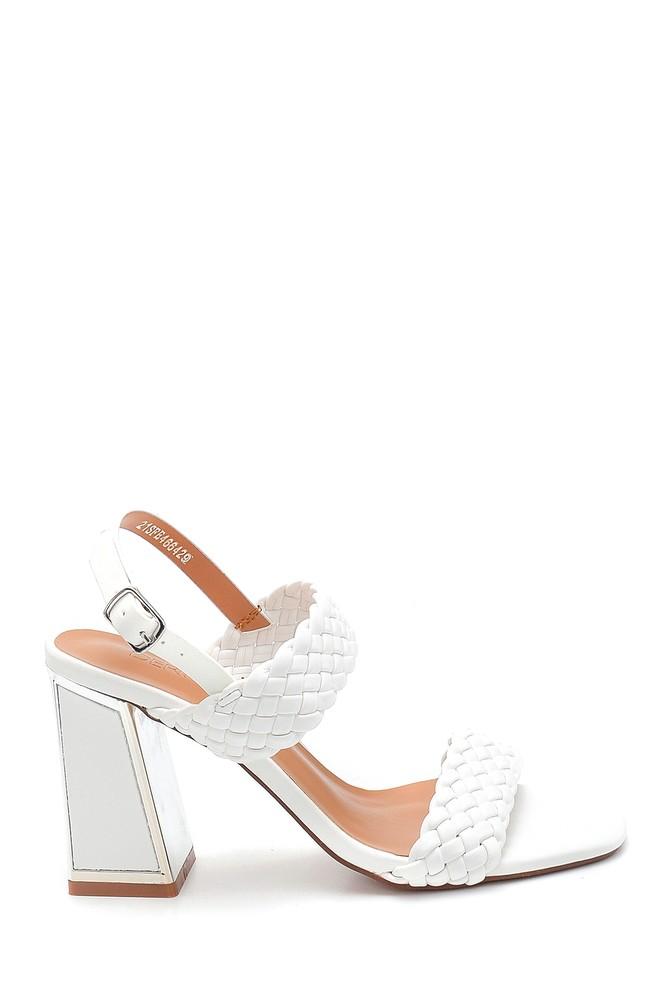 Beyaz Kadın Örgü Detaylı Kalın Topuklu Sandalet 5638263477