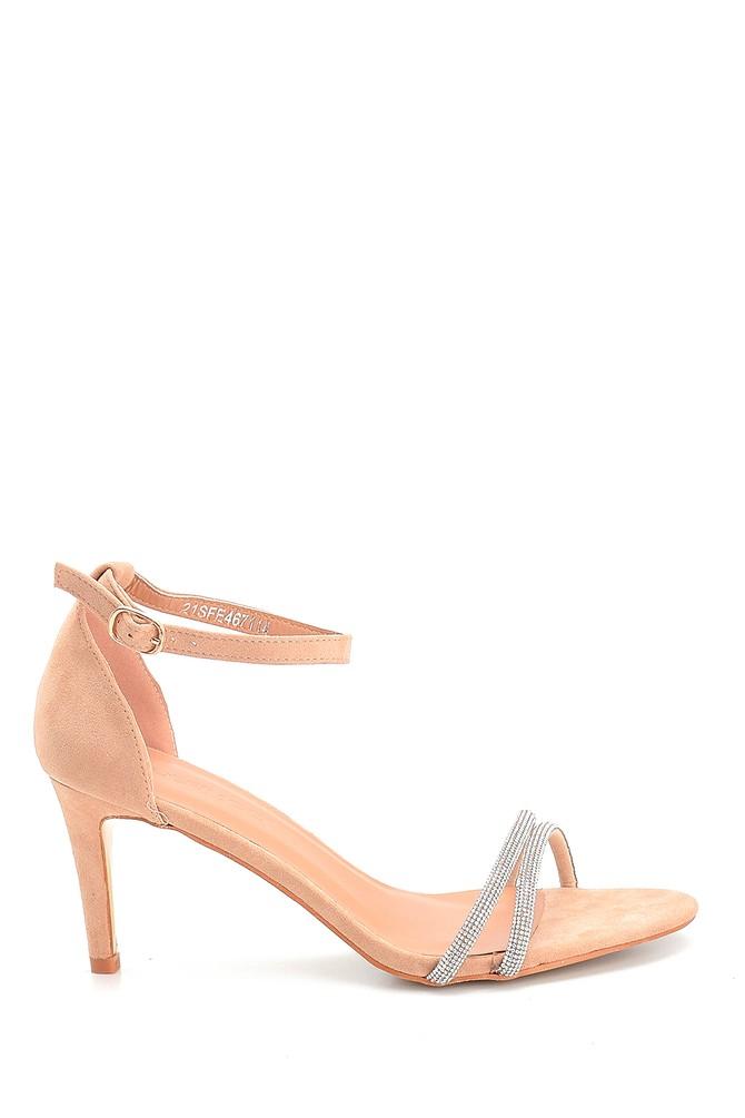 Bej Kadın Taşlı Topuklu Sandalet 5638263602