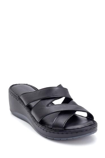 Siyah Kadın Comfort Dolgu Topuk Deri Terlik 5638273772