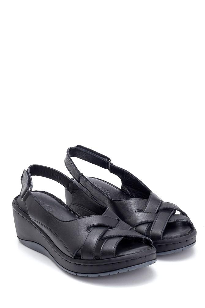 5638273857 Kadın Comfort Dolgu Topuk Deri Sandalet