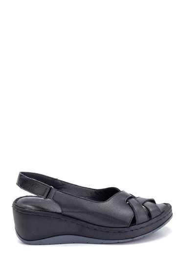 Siyah Kadın Comfort Dolgu Topuk Deri Sandalet 5638273857