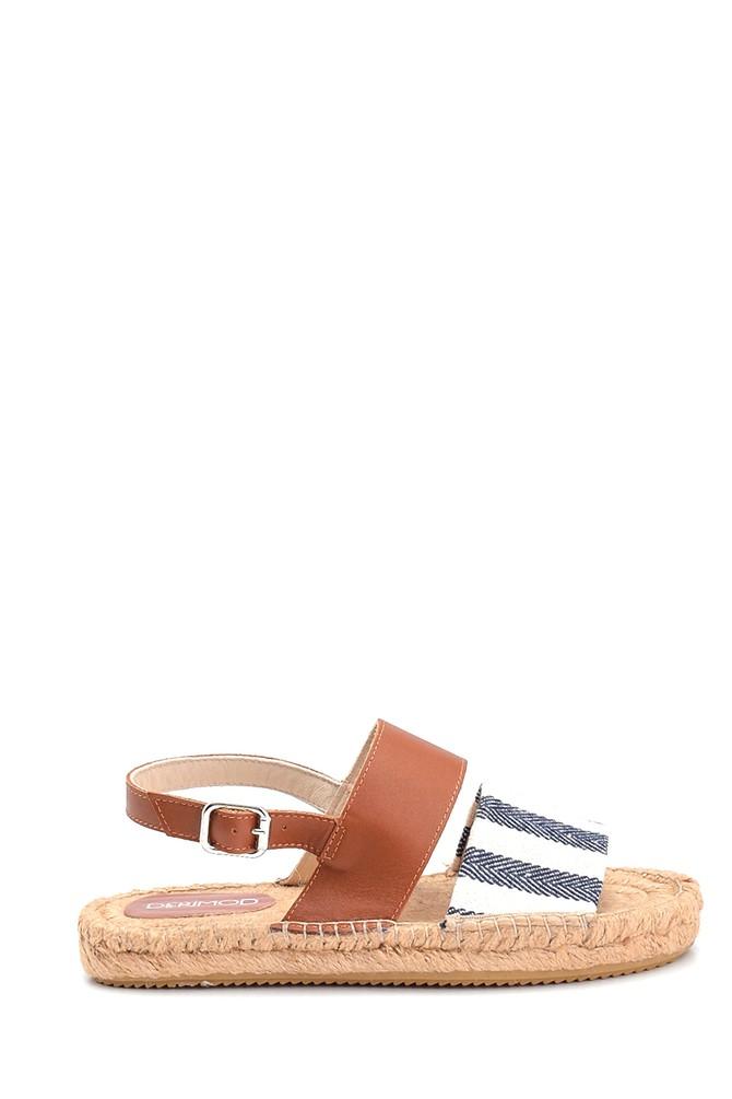 Lacivert Kadın Hasır Tabanlı Sandalet 5638289267