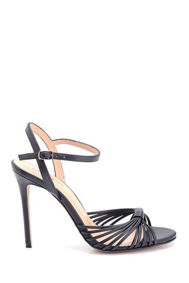 Siyah Kadın Yüksek Topuklu Deri Sandalet 5638297411