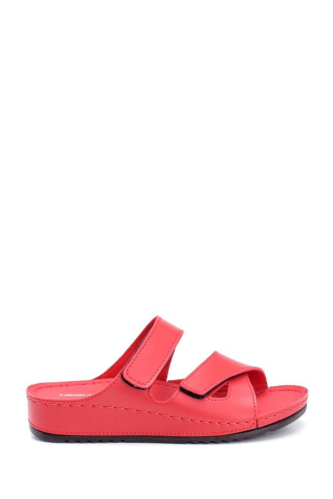 Kırmızı Kadın Dolgu Topuk Bantlı Casual Terlik 5638306063