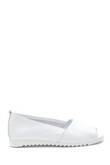 Beyaz Kadın Açık Burun Detaylı Deri Ayakkabı 5638265368