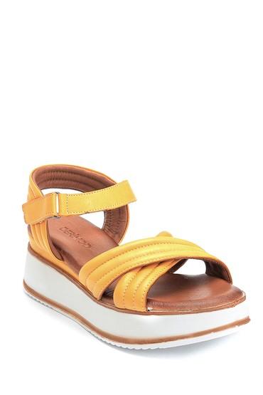 Sarı Kadın Casual Deri Sandalet 5638280102