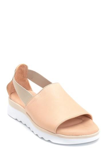 Bej Kadın Casual Deri Sandalet 5638280140