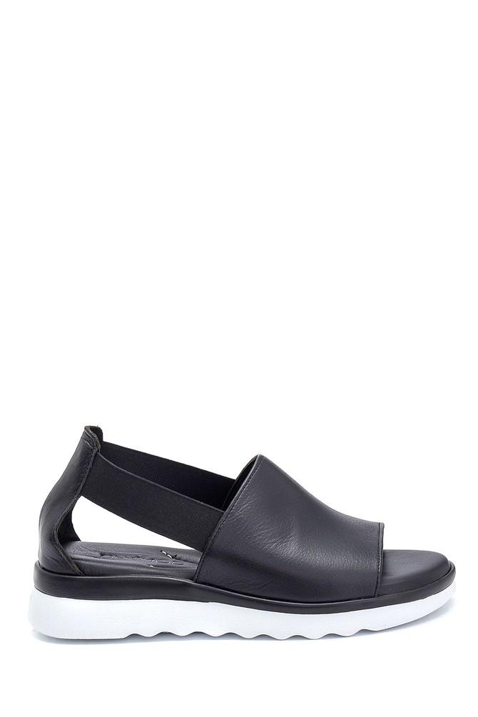 Siyah Kadın Casual Deri Sandalet 5638280141
