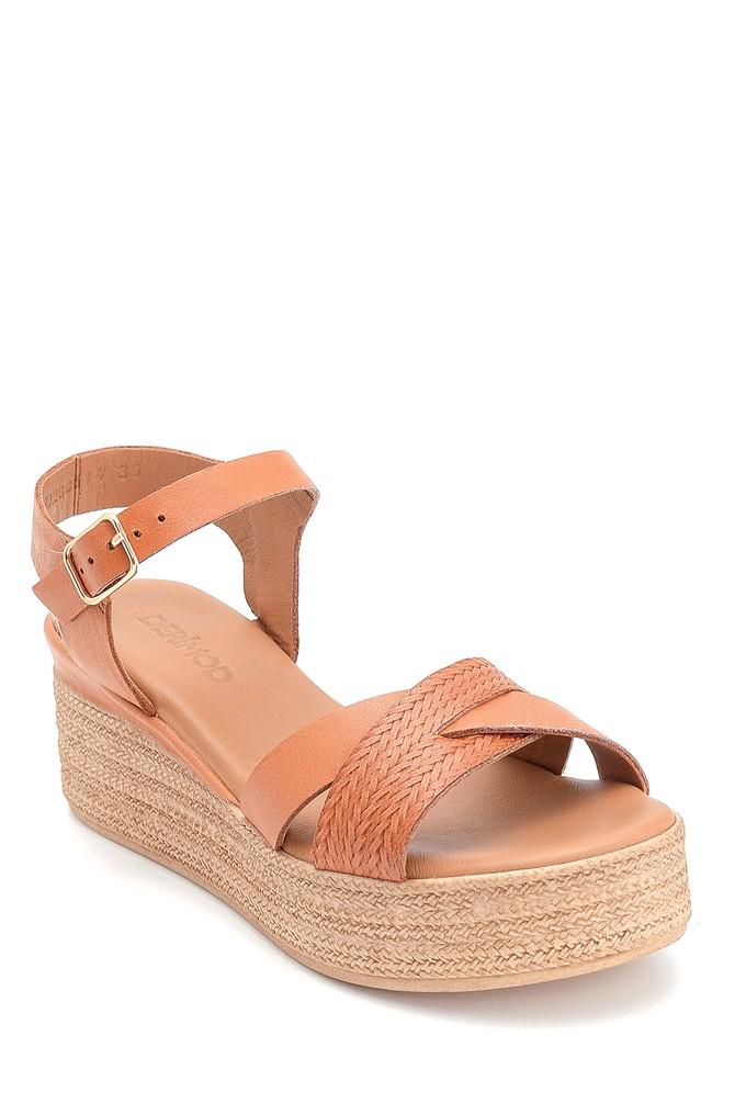 5638280159 Kadın Dolgu Topuk Deri Sandalet