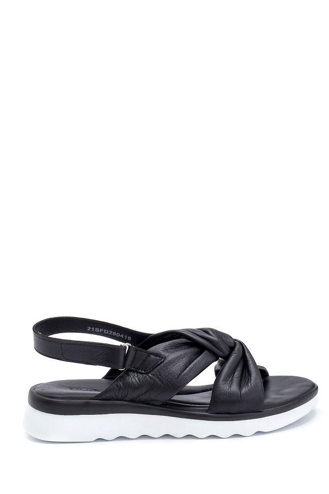 Siyah Kadın Casual Deri Sandalet 5638280616