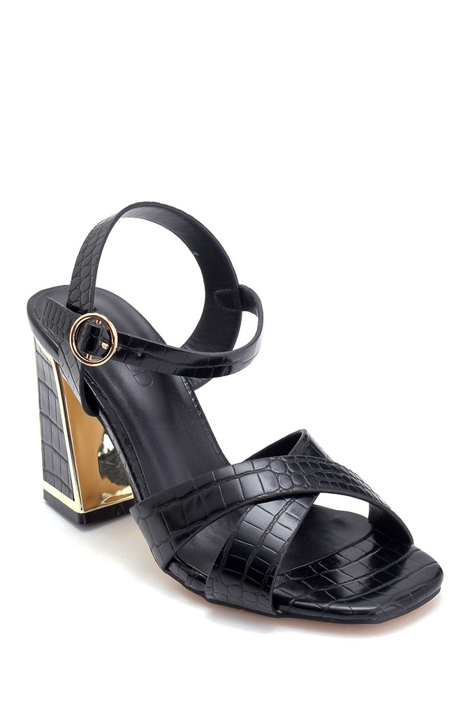 5638262542 Kadın Kroko Baskılı Kalın Topuklu Sandalet