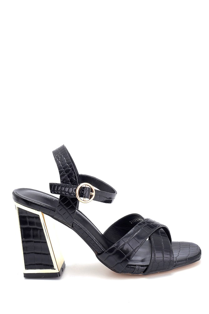 Siyah Kadın Kroko Baskılı Kalın Topuklu Sandalet 5638262542