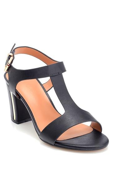 Siyah Kadın Kalın Topuklu Casual Sandalet 5638262563