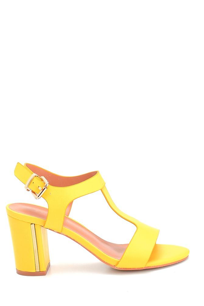 Sarı Kadın Kalın Topuklu Casual Sandalet 5638262561