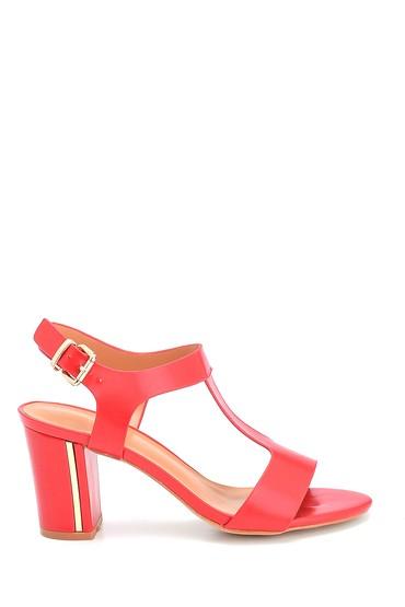 Kırmızı Kadın Kalın Topuklu Casual Sandalet 5638262562