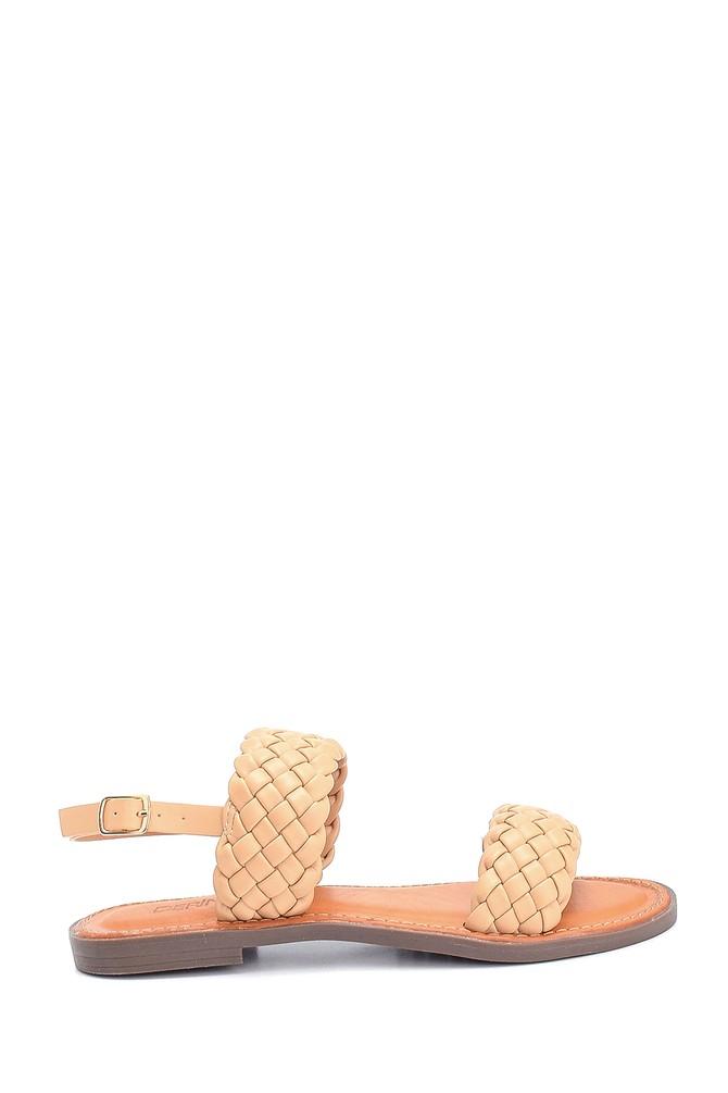 Bej Kadın Örgü Detaylı Casual Sandalet 5638262976