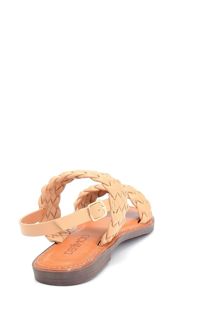 5638262976 Kadın Örgü Detaylı Casual Sandalet