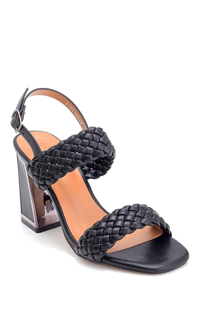 5638263463 Kadın Örgü Detaylı Kalın Topuklu Sandalet