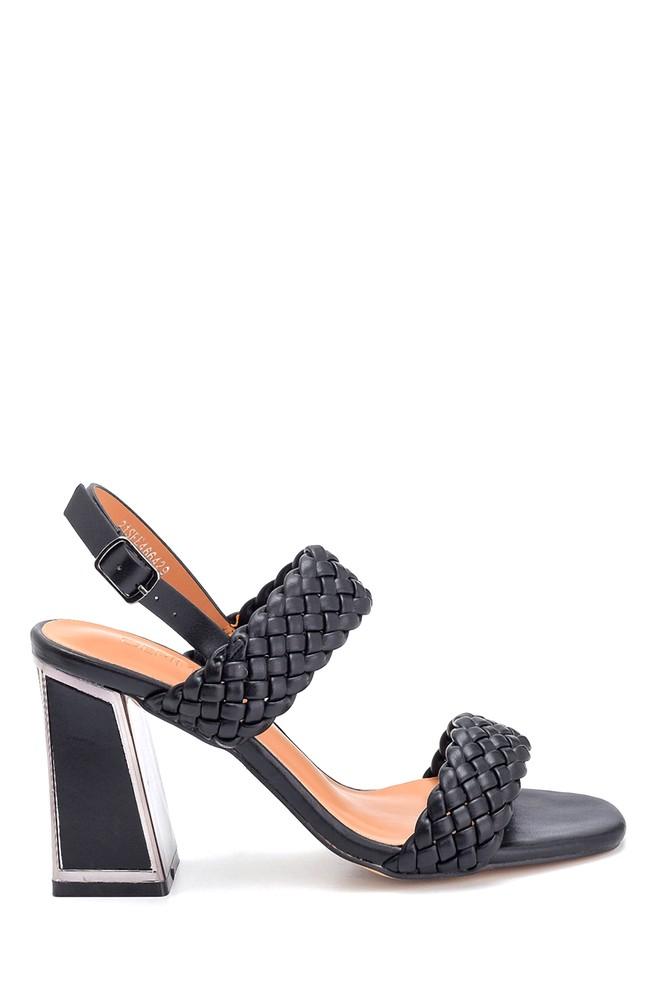 Siyah Kadın Örgü Detaylı Kalın Topuklu Sandalet 5638263463