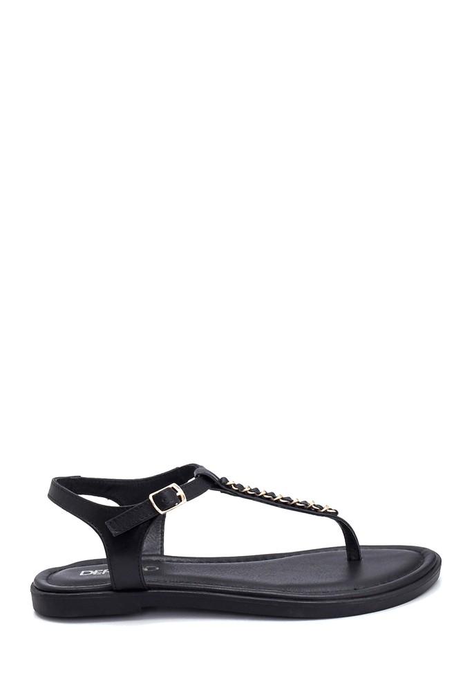 Siyah Kadın Casual Deri Sandalet 5638266265