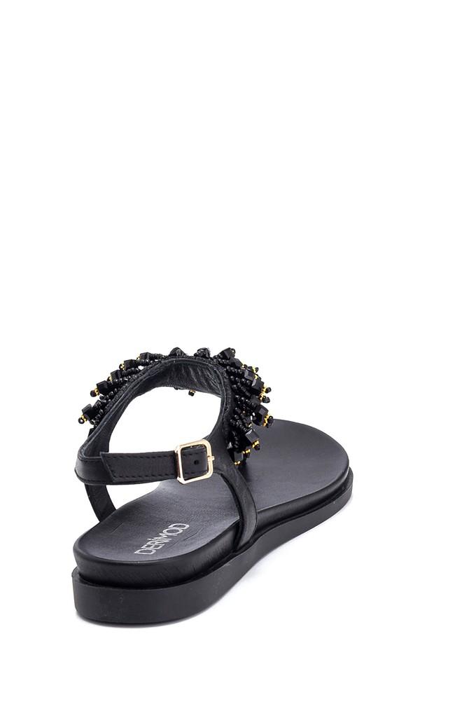 5638266294 Kadın Boncuk Detaylı Deri Sandalet