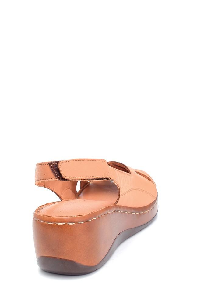 5638273856 Kadın Comfort Dolgu Topuk Deri Sandalet