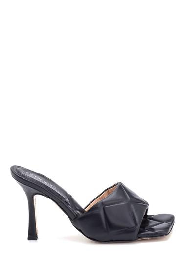 Siyah Kadın Topuklu Deri Terlik 5638286932