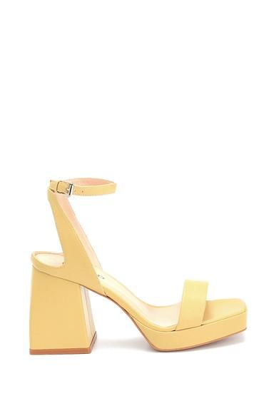 Sarı Kadın Platform Topuklu Deri Sandalet 5638290582