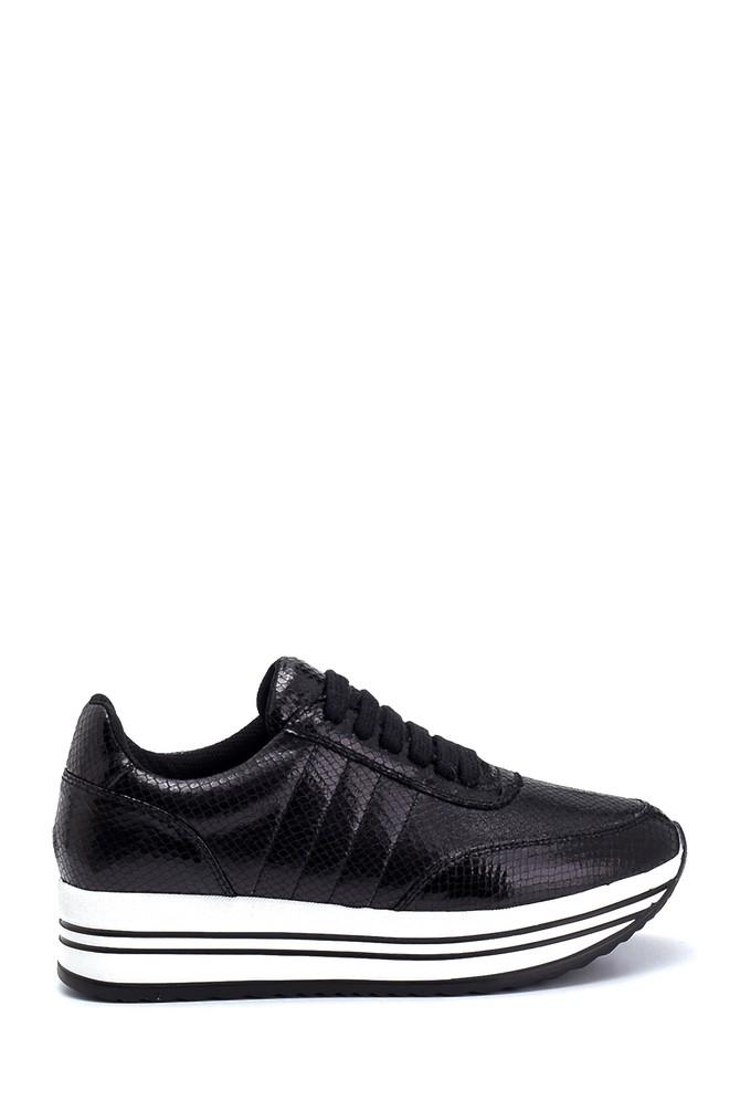 Siyah Kadın Yüksek Tabanlı Sneaker 5638294453