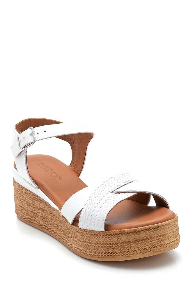 5638280160 Kadın Dolgu Topuk Deri Sandalet