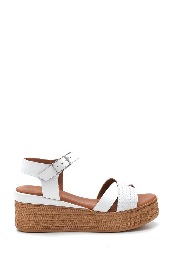 Beyaz Kadın Dolgu Topuk Deri Sandalet 5638280160