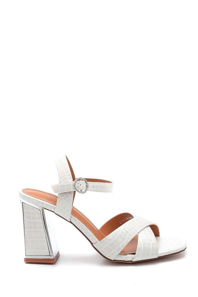 Beyaz Kadın Kroko Baskılı Kalın Topuklu Sandalet 5638262543