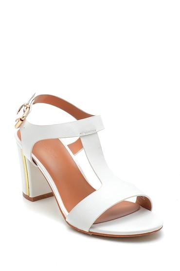 Beyaz Kadın Kalın Topuklu Casual Sandalet 5638262564