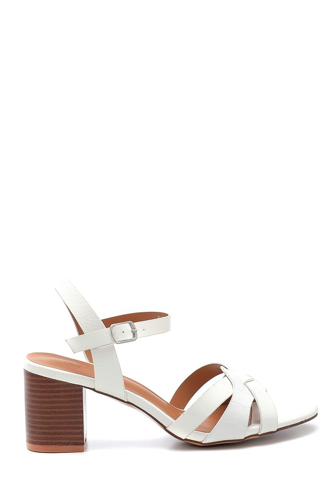 Beyaz Kadın Kalın Topuklu Sandalet 5638263423