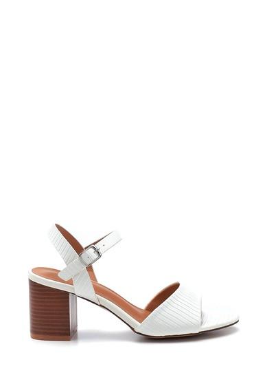 Beyaz Kadın Kalın Topuklu Sandalet 5638263446
